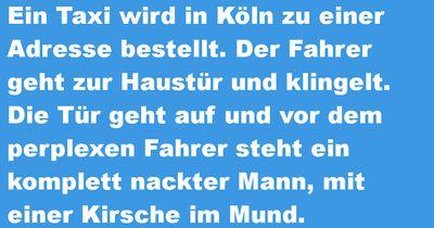 Ein Taxi wird in Köln zu einer Adresse gerufen...